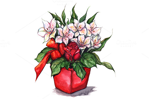 Bouquet Of Alstroemeria And Rose
