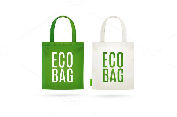 Eco Fabric Cloth Bag Tote. Vector - Illustrations
