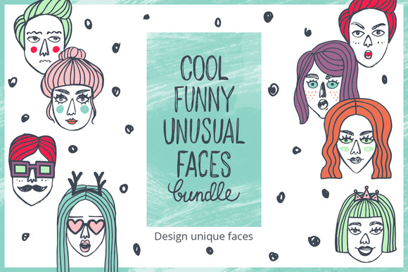 Doodle face bundle. Constructor - Illustrations