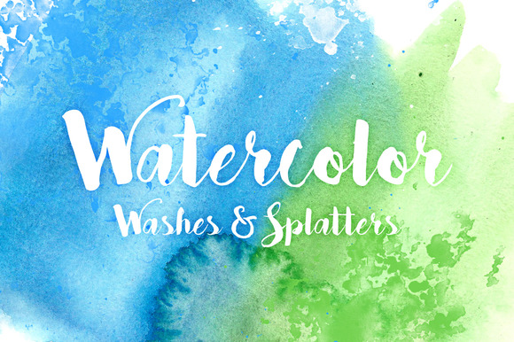 20 Watercolor Splatters Washes