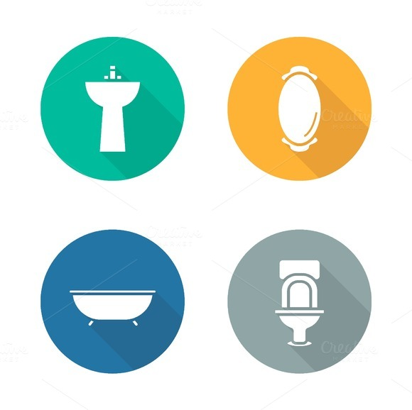 Bathroom interior icons. Vector - Icons