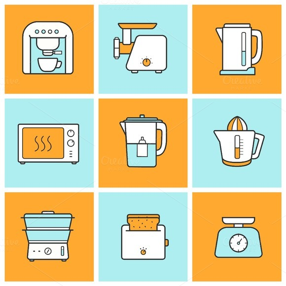 Kitchenware color icons set. Vector - Icons