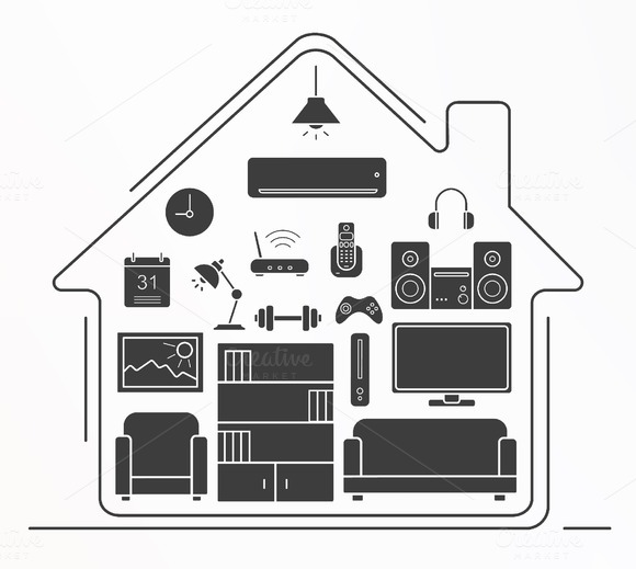 Living room icons. Vector - Icons