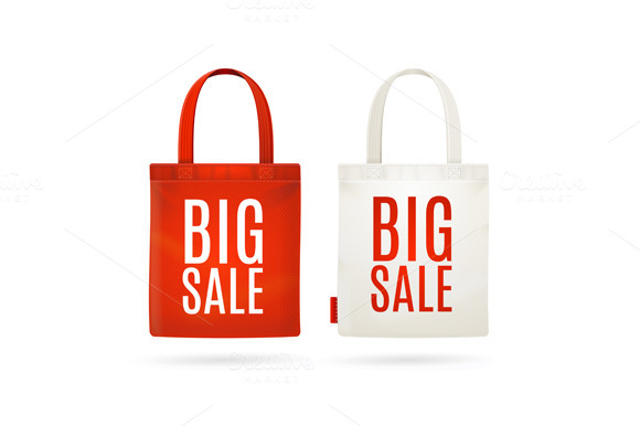 Sale Eco Bag Set. Vector - Objects