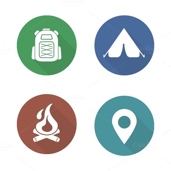 Camping icons. Vector - Icons