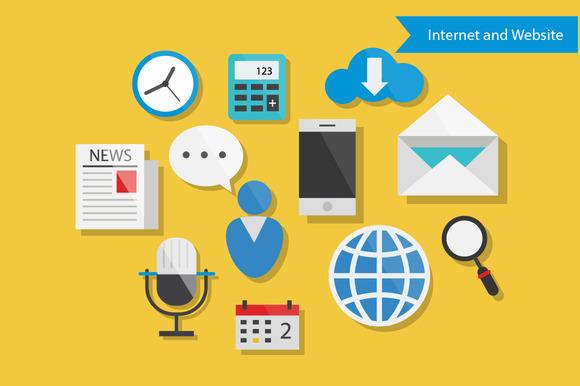 Internet And Website Flat Design