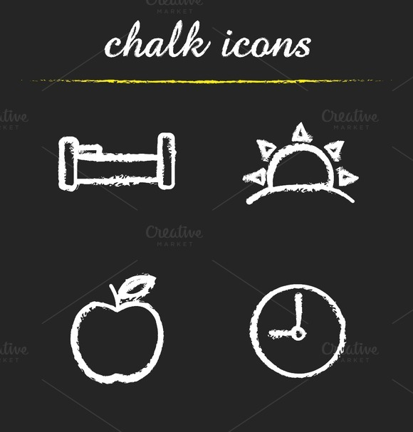 Daily timetable icons set. Vector - Icons
