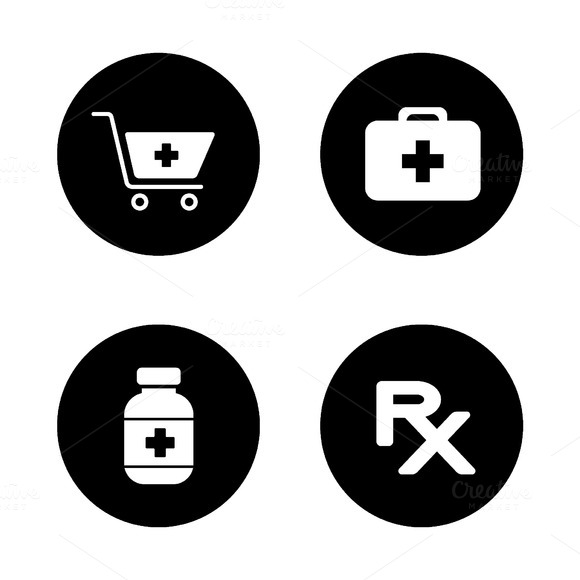 Online pharmacy icons. Vector - Icons
