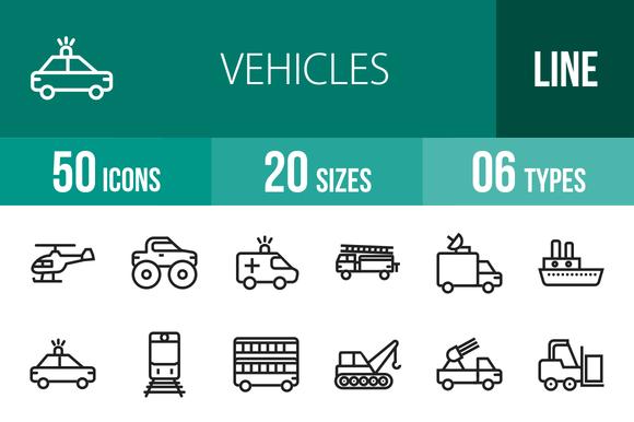 50 Vehicles Line Icons
