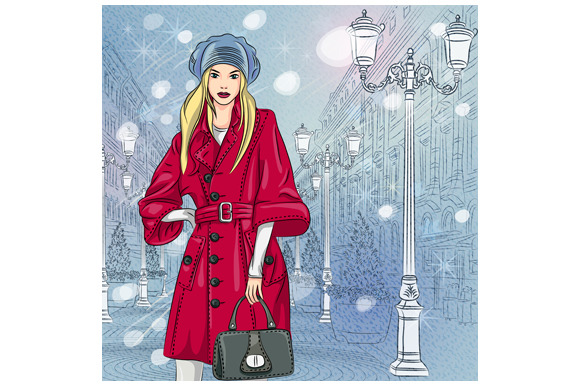 Fashionable girl in St. Petersburg - Illustrations