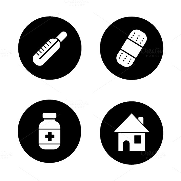Medicine chest items icons. Vector - Icons