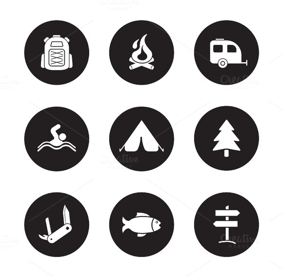 Camping and tourism icons. Vector - Icons