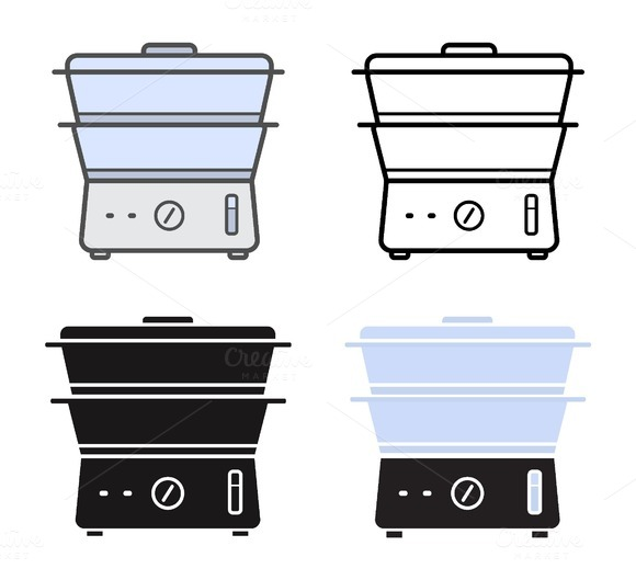 Electric steamer icons. Vector - Icons