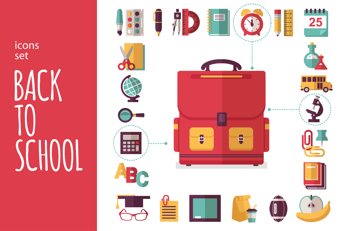 Back Icon Flat Icons Set Back to School