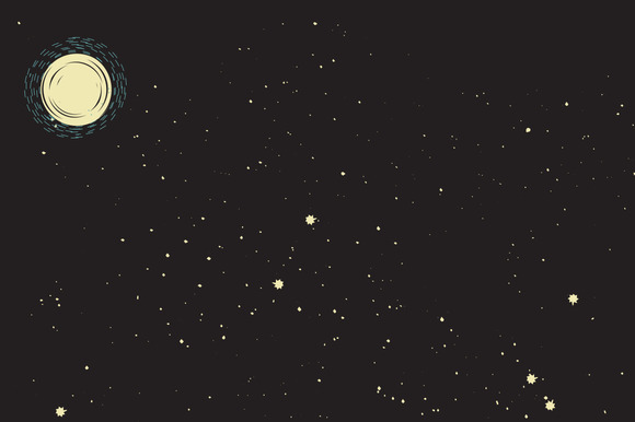 Retro Stars and Moon Background ~ Illustrations on ...