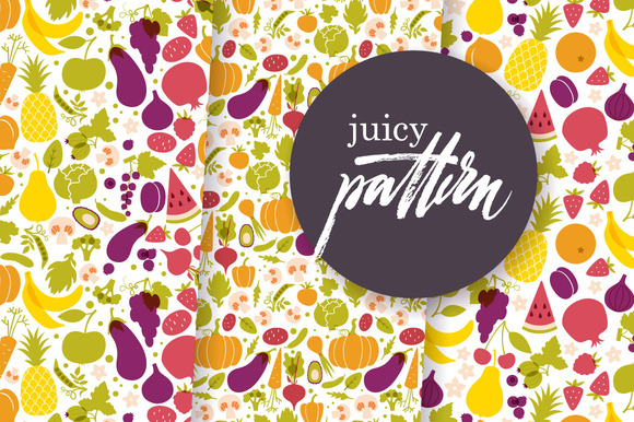 3 fruit & vege patterns. 3 frames - Patterns