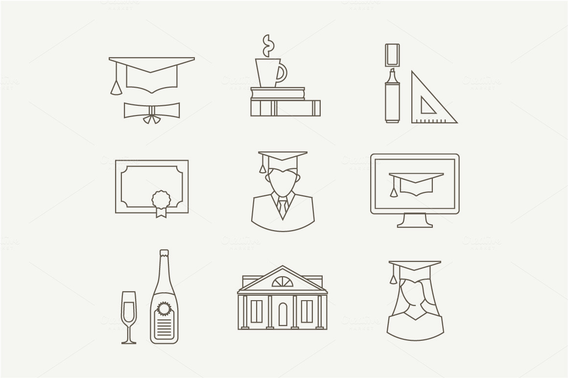 Vector graduation icons ~ Graphics on Creative Market