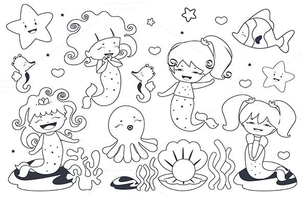 Cute kawaii mermaids ~ Illustrations on Creative Market