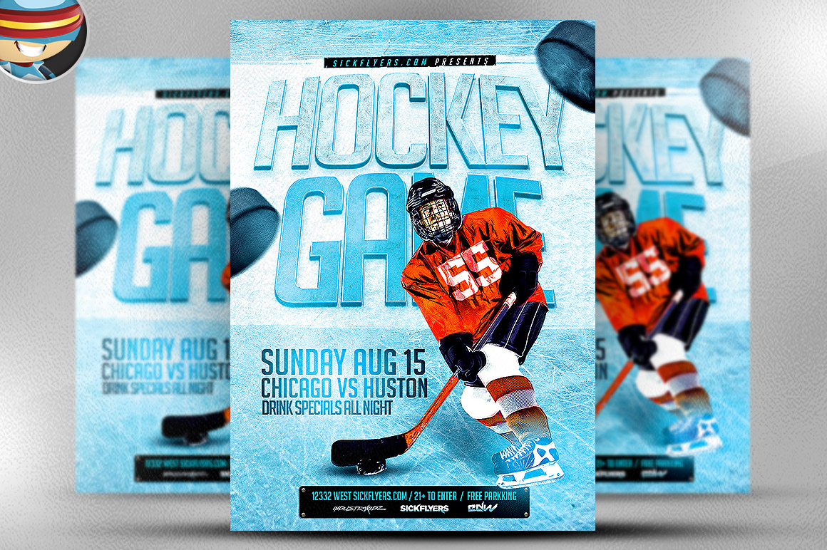 ice hockey flyer template flyer templates on creative market. Black Bedroom Furniture Sets. Home Design Ideas