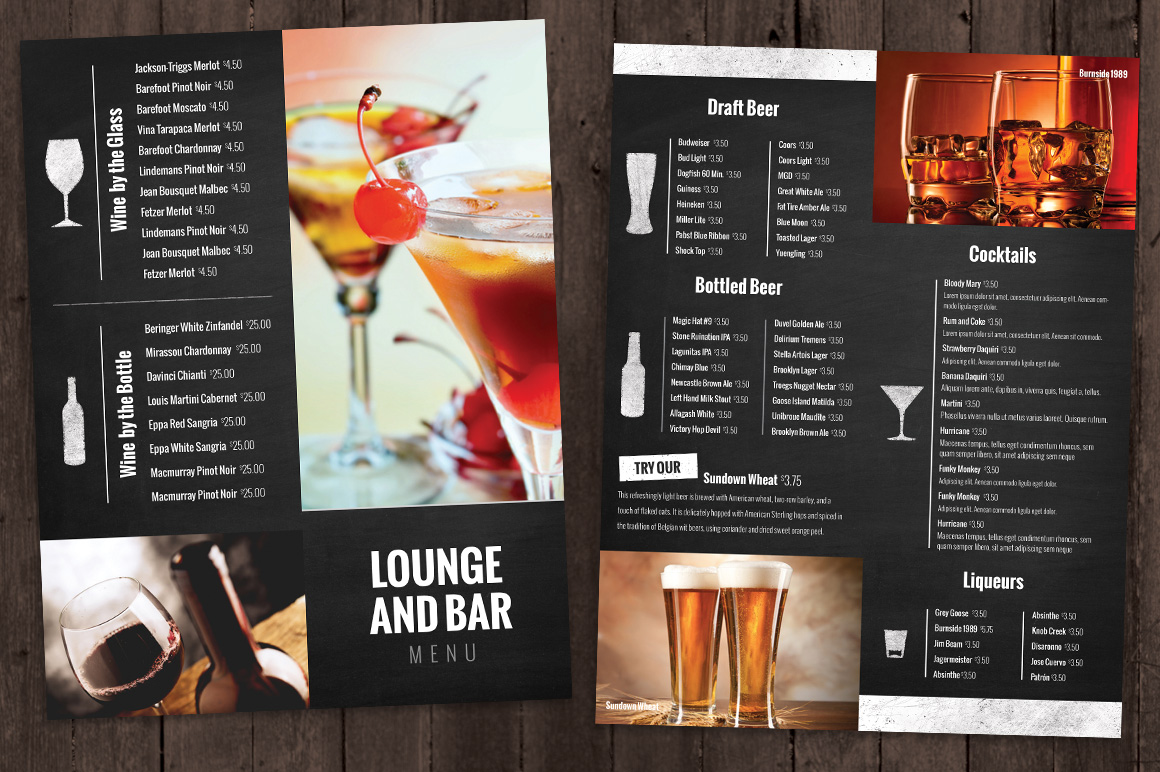 Bar and Lounge Drink Menu ~ Brochure Templates on Creative ... - photo#11