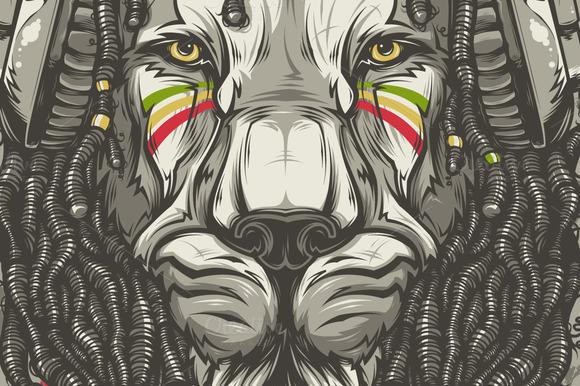 Rasta lion outline