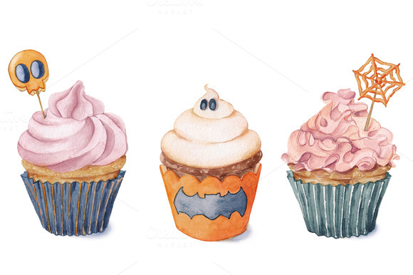 Watercolor Cupcakes For Halloween Illustrations On