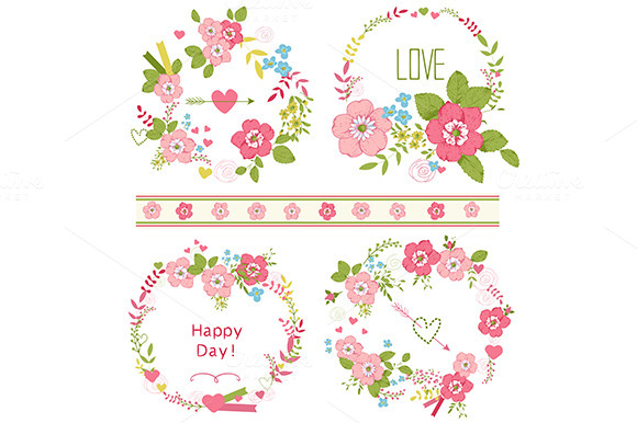 Roses wreath set and floral clip-art ~ Card Templates on Creative Market