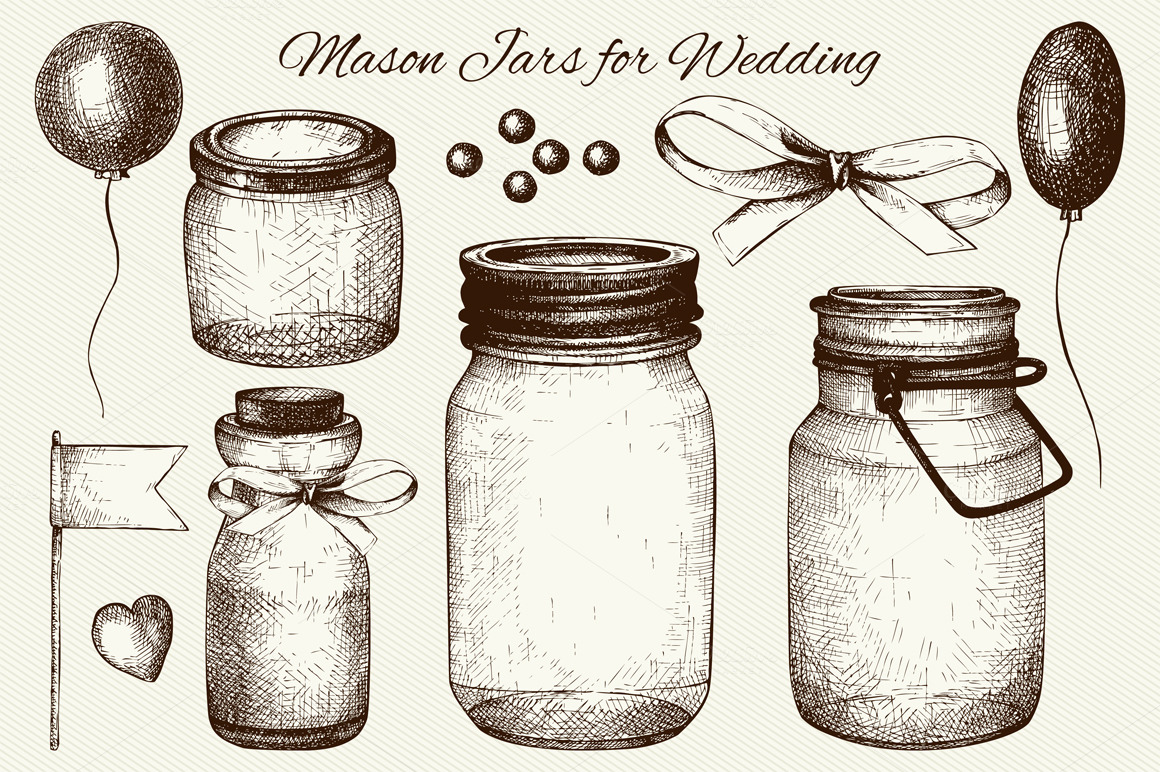 Vector set of mason jars for wedding ~ Illustrations on ...