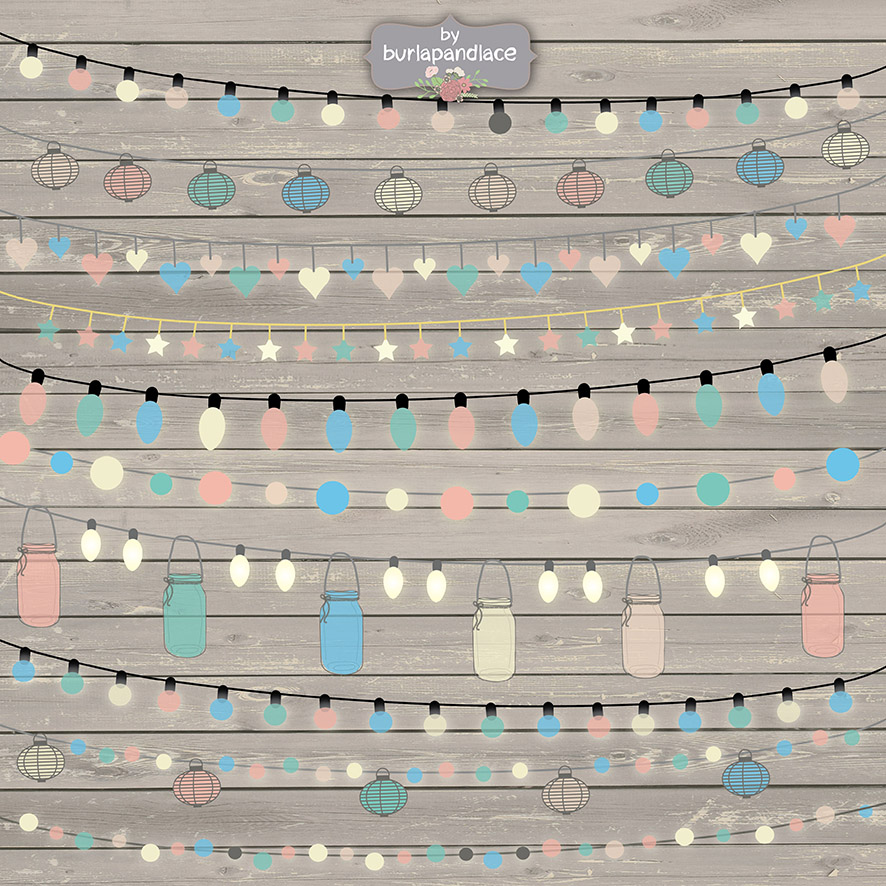 String Lights Clipart No Background Free : String Lights Clipart color ~ Illustrations on Creative Market