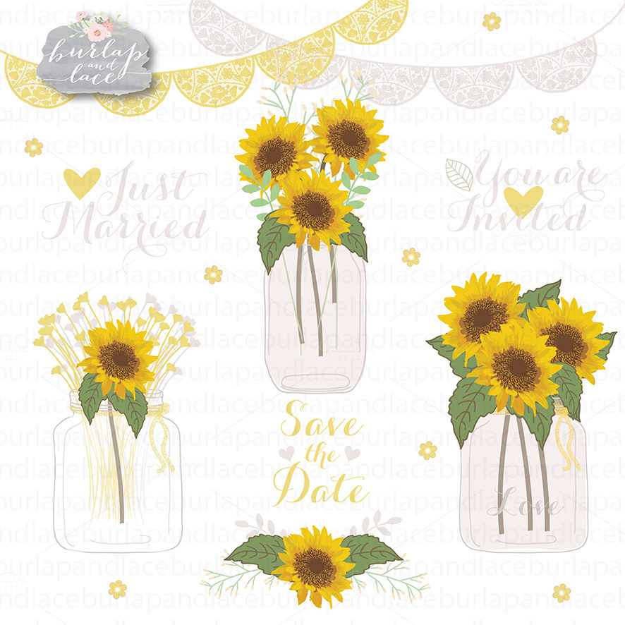 Sunflowers Clipart Illustrations On Creative Market