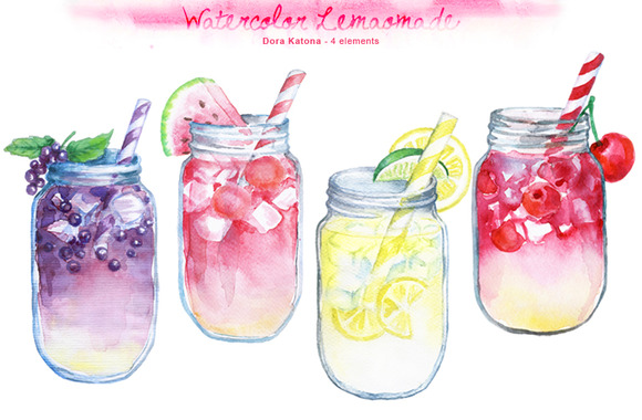watercolor lemonade clipart
