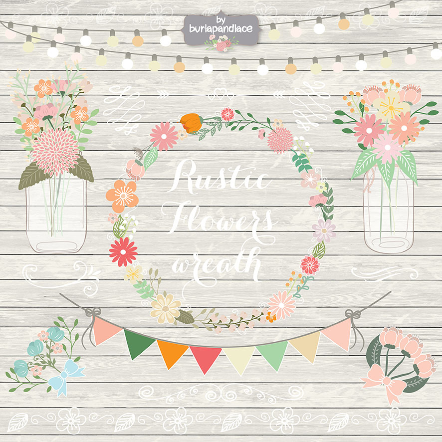 Rustic Retro Flower Wreath Clipart Illustrations On