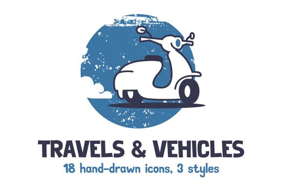 Travel & Vehicles. 18 Illustrations - Icons