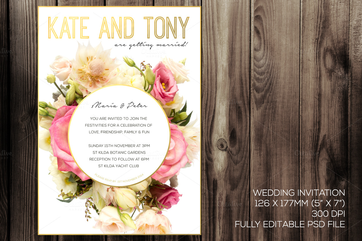 What To Include In A Wedding Invitation Pack: Blush Wedding Invitation Pack PSD