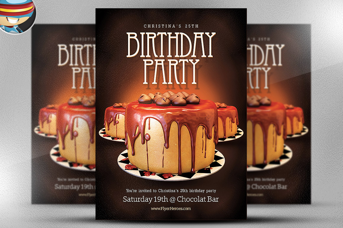 birthday flyer template flyer templates on creative market. Black Bedroom Furniture Sets. Home Design Ideas