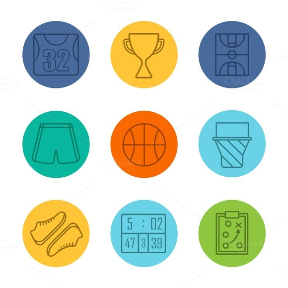 Basketball equipment icons. Vector - Icons