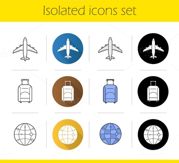 Air travel icons set. Vector - Icons