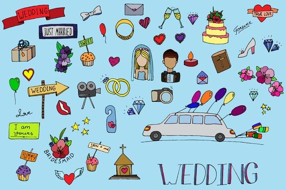 Big Wedding doodle icon set. Vector - Icons