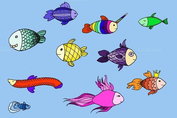 Doodle fabulous fish. Vector - Illustrations