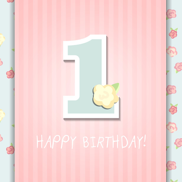 1st happy birthday card. one year - Illustrations