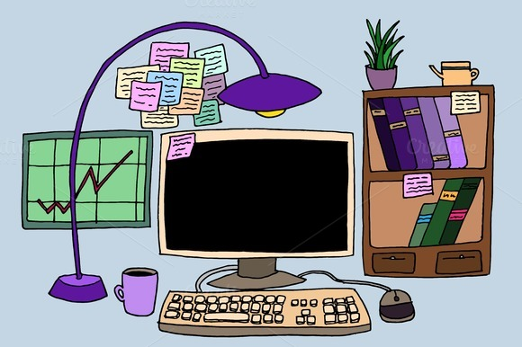 Doodle work place. Vector - Illustrations