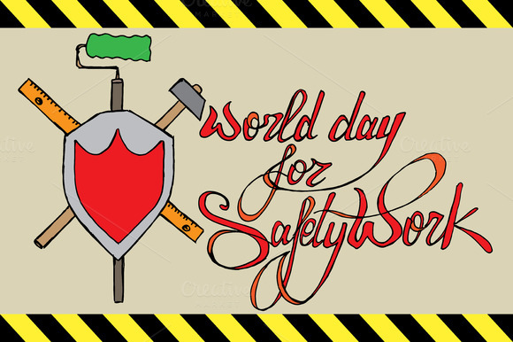 World Day for Safety Work. Lettering - Illustrations
