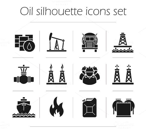 Oil production. 12 icons. Vector - Icons