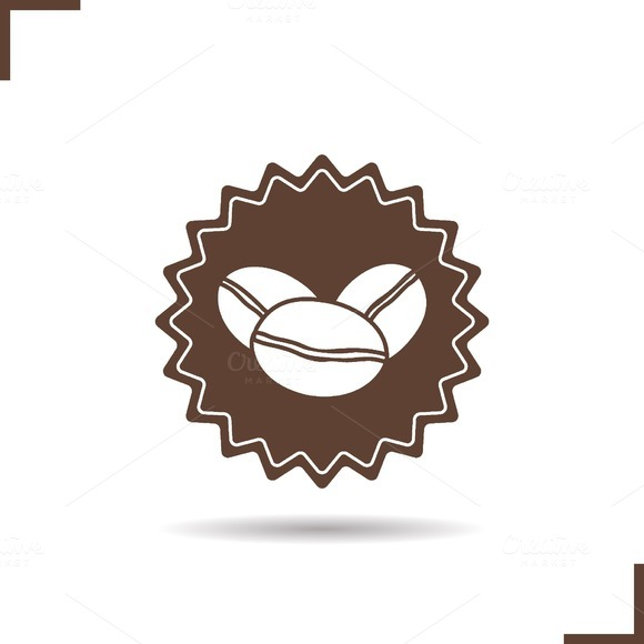 Natural Coffee Stamp Icon Vector