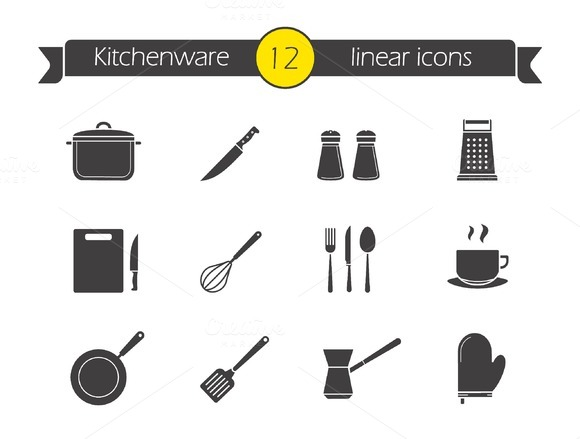 Kitchenware. 12 icons. Vector - Icons