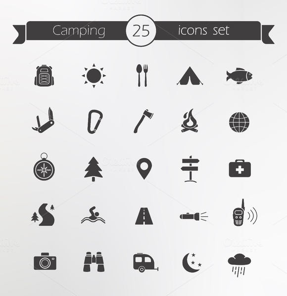 Tourism and travel. 25 icons. Vector - Icons