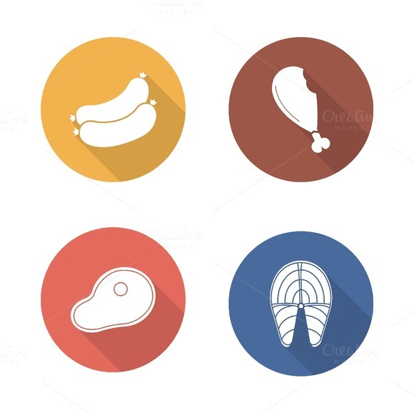 Barbecue meat. 4 icons. Vector - Icons