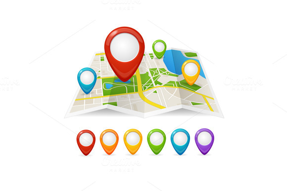 Maps and Pin Navigation. Vector - Illustrations
