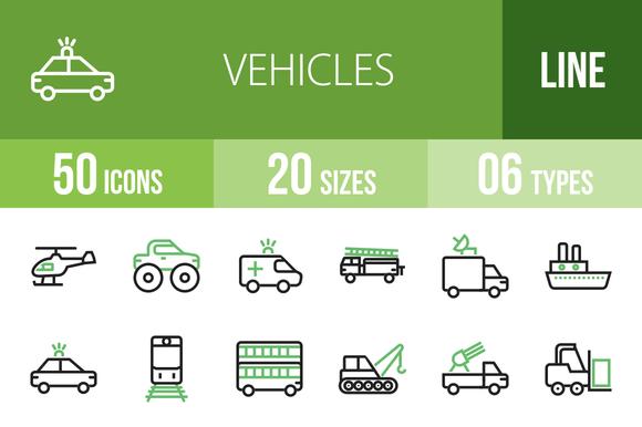 50 Vehicles Line Green Black Icons