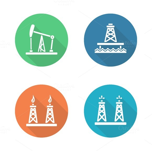 Oil industry. 4 icons. Vector - Icons